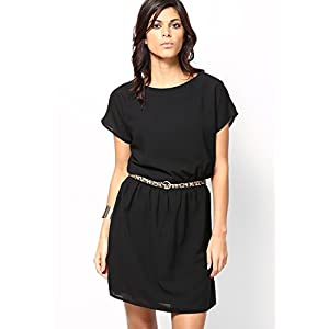 Black Georgette Fully Lined Party Dress With Leopard Print Belt