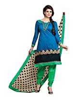 Fabdeal Womens Chanderi Silk Salwar Unstitched Dress Material (Gbudr1012Mp _Blue)