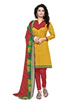 BanoRani Womens Yellow Color Casual & Printed PolyCotton Ladies Unstitched Salwar Suit Dress Material with Printed Dupatta