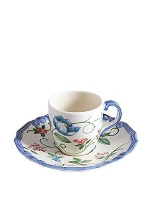 Tiffani Kaffeetasse mit Untertasse Paradis 100 cc weiß/azurblau