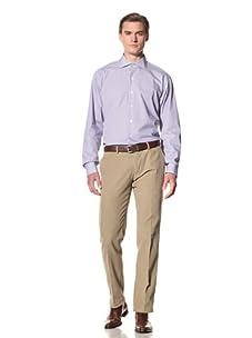 Domenico Vacca Men's Pinstriped Button-Up Shirt (White/Thin Blue Stripes)