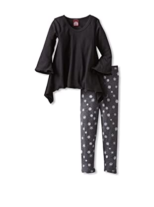 Red Wagon Baby Girl's Bell Sleeve Tunic with Snowflake Legging Set (Onyx)