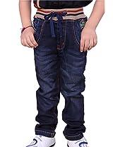 OKS Junior Navy Denim Printed Pant For Boys | OKJ1140DNM