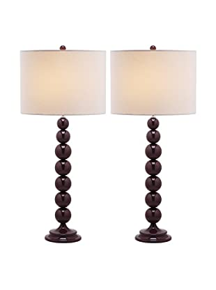 Safavieh Set of 2 Jenna Stacked Ball Lamps, Purple