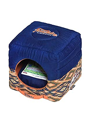 Touchdog Tribal Throwback Convertible/Reversible Squared 2-in-1 Collapsible Dog House Bed, Midnight Blue/Sandalwood