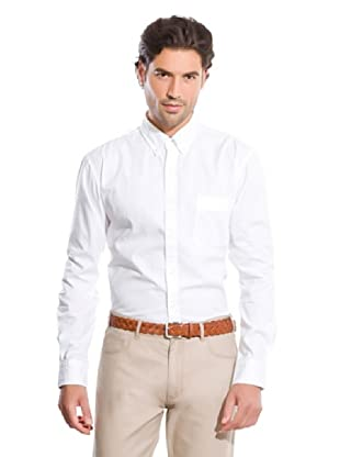 Cortefiel Camisa Popelín Liso (Blanco)