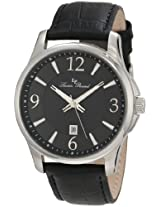 Lucien Piccard Men's 11566-01 Adamello Black Textured Dial Black Leather Watch
