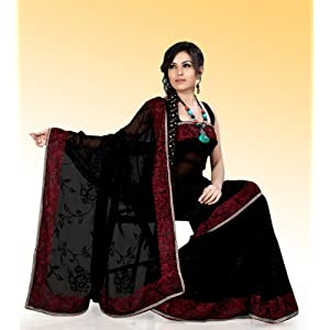 Black faux georgette saree with blouse (ask541)