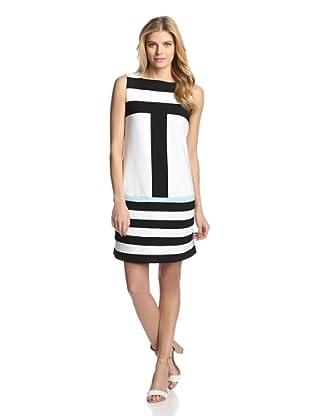 Katherine Barclay Women's Colorblock Strapless Dress (Black/White/Aqua)