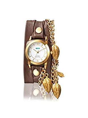 La Mer Collections Women's LMCW7802 Smokey Acetate Leaf Charm Mushroom Leather Watch