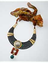 Brown scarved funky necklace