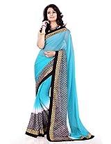 Sourbh Chiffon Lace Saree (7805 _Sky Blue)