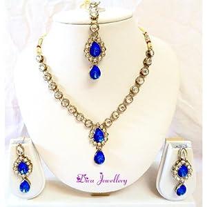 Diva Kundan Royal Blue Indian Bollywood Pendant Necklace Earrings Set For Women