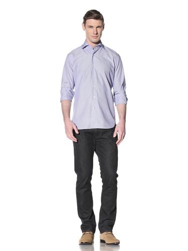 Orian Men's Spread Collar Washed Slim Fit Sport Shirt (Blue/White/Pink)