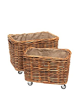 Skalny Set Of 2 Rattan Baskets On Wheels, Natural