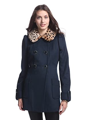 Betsey Johnson Women's Double Breasted Coat with Faux Fur Collar (Teal)