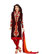Suchi Fashion Brown & Red Straight Fit Faux Georgette Semi Stitched Suit