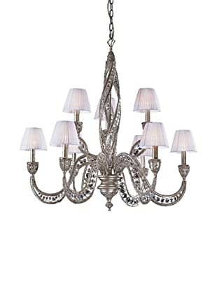 ELK Lighting Renaissance 9-Light Chandelier with Crystal Accents, Sunset Silver