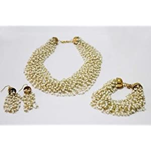 Necklace sets - White imitation pearl necklace set with bracelet & earrings