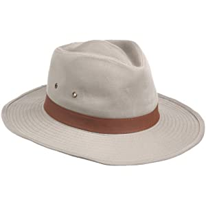 Dorfman Pacific Men's 1 Piece Garment Washed Twill Outback Hat With Genuine Leather Trim