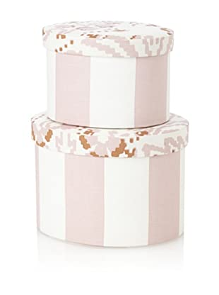 Image By Charlie 2-Piece Cotton Sateen Round Boxes, Floral, Taupe and Off-White