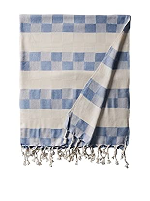Nomadic Thread Handwoven Towel Cube, Natural/Blue