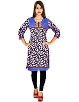 bela Women's Cotton Regular Fit Kurti (EC-31-A_XXL, Purple, XXL )