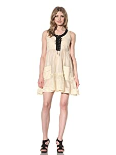 D&G by Dolce & Gabbana Women's Ruffled Hem Dress (Beige)