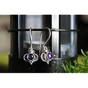 Gajgauri Silver Earring With Purple Stone