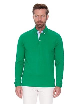 Cortefiel Polo Ml Cuello Boton (Verde)