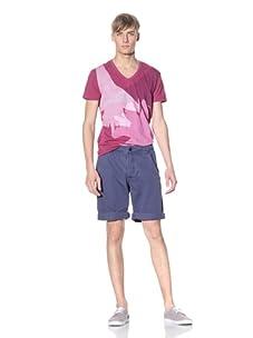 J.C. Rags Men's Cuffed Cotton Shorts (Indi blue)