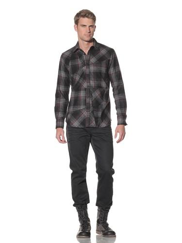 Maharishi Men's Italian Flannel Check Work Shirt (Black/Red)