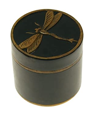 The Niger Bend Small Cylindrical Soapstone Box with Dragonfly Design, Black