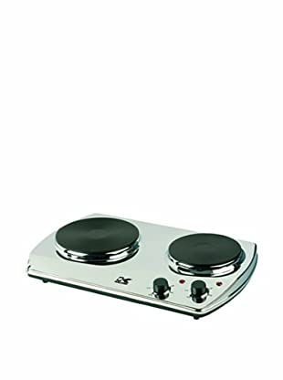 Kalorik 1400-Watt Portable Chrome Burner with 2 Cast Iron Cooking Plates (Chrome)