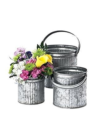 Skalny Set Of 3 Galvanized Tins, Grey