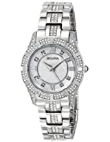 Bulova Crystal Analog Mother of Pearl Dial Women's Watch - 96L116
