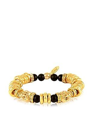 Ettika Black & 18K Gold-Plated Sparkling Afterlife Skull Expansion Bracelet