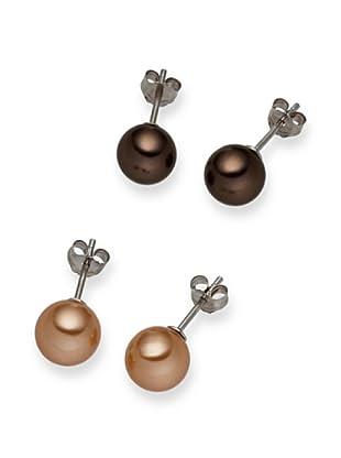 Perldor - 60650217 Pendientes de mujer de Gris de ley con perla natural Marrón/Bronce