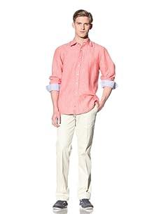 Report Collection Men's Linen Button-Front Shirt (Cherry)