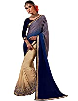 Faux Georgette Gold & Blue Colour Saree for Party Wear