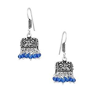 Graceful Pair Of Jhumki Earrings With Blue Beads [Jewellery]
