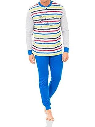 Baci & Abbracci Pijama Gris Claro / Azul Royal XL