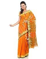 B3Fashion Women Cotton Jamdani Saree (Ags99 _Yellow _Free Size)