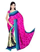 Sonal Trendz Beige & Pink Color Printed Georgette Saree with Blouse