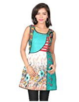 18 FIRE Cotton Kurti with Assymetrical Neck Line with Pleat and Aplic Work