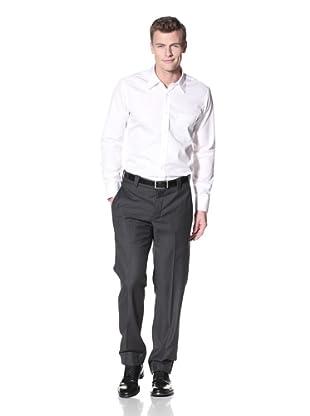 Incotex Ivory Men's Cotton Flat-Front Trousers (Black)