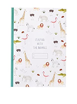 O-Check Design Graphics Kids Lined Animal Notebook, Multi