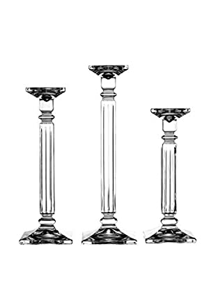 Fitz & Floyd Eminence Crystal Set Of 3 Candle Holders, Clear