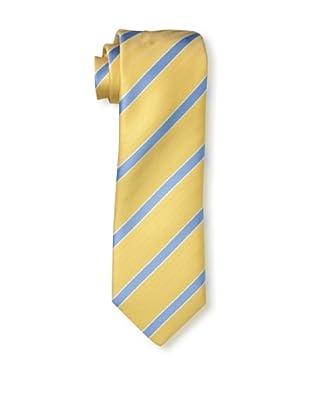 Rossovivo Men's Striped Tie, Mustard/Blue