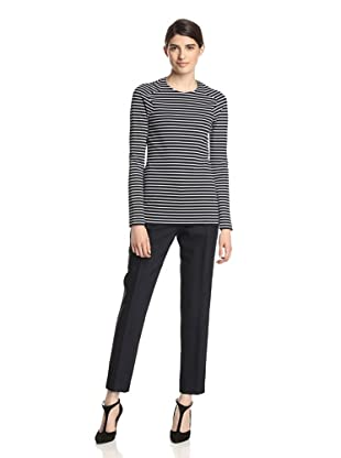 Thakoon Women's Striped Ponte Knit Top (Blue/White)